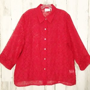 Alfred Dunner RED Sheer Cut Out Blouse size 16